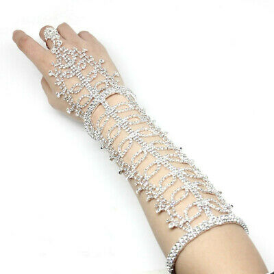 A Pair Of Crystal Arm Wrist Gloves Women Wedding Bride Bridal Party Pageant
