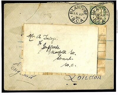 W43c 1898 NYASALAND B.C.A. Blantyre FORWARDING AGENT London