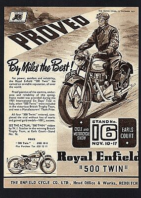 November 1951 Royal Enfield 500 Twin Motorcycle. Magazine Advert.