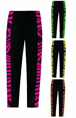 Girls Leggings Neon Animal Zebra Print Full Length Trousers Pants Age 5 - 13 Yrs