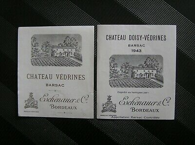 02 Etiquettes Chateau Doisy Vedrines 1943 Et Chateau Vedrines Vers 1940