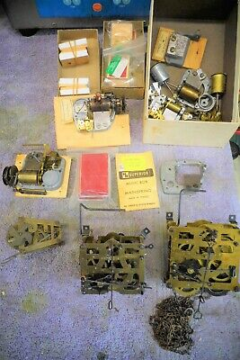 Antique / Vintage Cuckoo Clock parts, bellows, movements, assorted miscellaneous