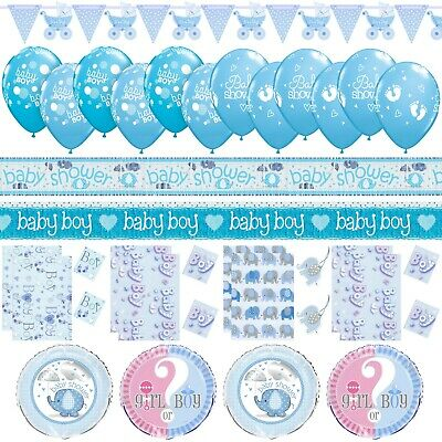 Boys Blue Baby Shower Party Decor Foil Balloons Gift Bags Banners Bunting Book