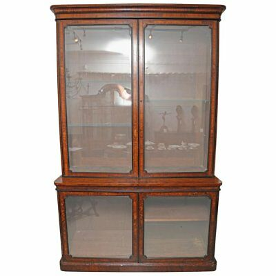 Large Burr Walnut Antique English Library Bookcase Victorian Ebony Beading