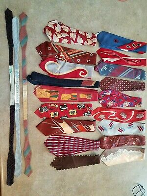 21 Vintage 1940's 50's Swing Rockabilly Neckties Atomic Art Deco Lot