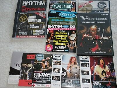 A Selection Of Dvd's And Cd's Of Drumming And Drummers. Hudson Music And Rhythm