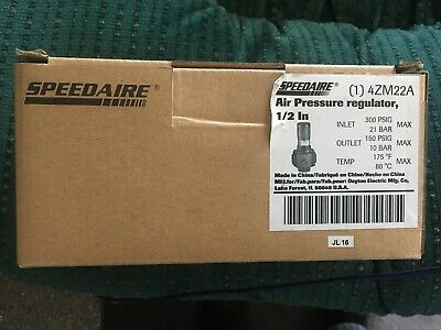 "SPEEDAIRE 4ZM22A 1/2"" Air Pressure Regulator 150-300 PSIG - 2 Units"