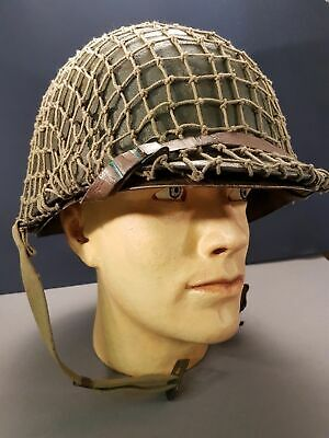 WW2 US army M1 Helmet with leather chintstrap, liner and strap. DDAY net