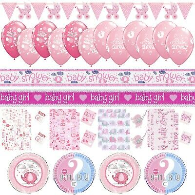 Girls Pink Baby Shower Party Decor Foil Balloons Gift Bags Banners Bunting Book