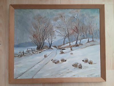 Original oil painting on hardboard 'Winter landscape' by E. M. Trounce circa 70
