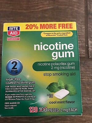 RITE AID NICOTINE GUM 2 MG COOL MINT STOP SMOKING AID 120 Pieces Expired 10/2018