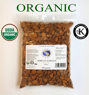 ORGANIC BITTER APRICOT KERNELS Certified Organic Naturally Dried - 500 GRAMS