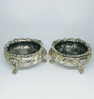 Pair Of Antique Victorian English Silver Salts, Martin Hall & Co, Sheffield 1893