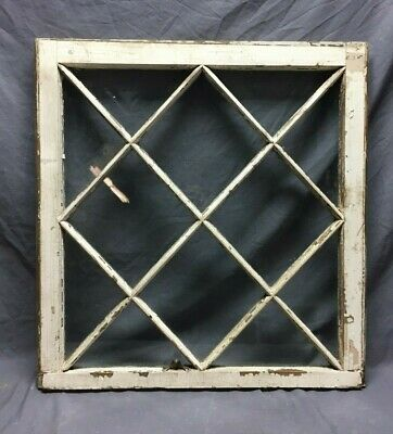 Antique 12 Lite Diamond Mission Window Sash Shabby Vintage Chic 28X29 242-19C