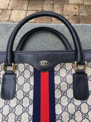 RARE VINTAGE GUCCI Tote Bag Handbag Purse GG Logo Medium 12x10