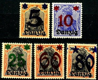 Danzig 1920 Germania Surcharged Issues Complete Set of 5 MH Scott's 19 to 23