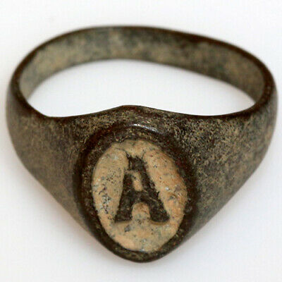 Intact-Undated Bronze Ring With Letter N In Bezel Possibly Late Medieval
