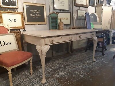 Antique 19th Century Painted French Dining Table with 2 Drawers