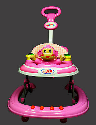 Pink Baby Walker First Step Push Along Bouncer Activity Music Ride On Car Melody