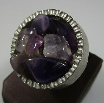 Denmark Ring Vintage 310 Purple Stones Sizable 19.3 Grams