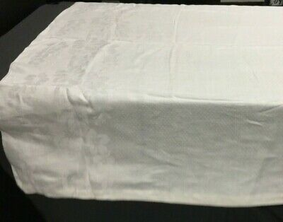 Vintage Linen Tablecloth 51 X 68 Inches Jacquard Damask Flowers and Dots Design