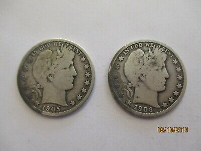 Lot of 2 - Barber Half Dollars + 1906-O & 1905-S + Silver + No Reserve!
