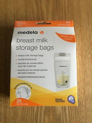 NEW Medela Breast Milk Storage Bags, 25 bags - with Transport pouch