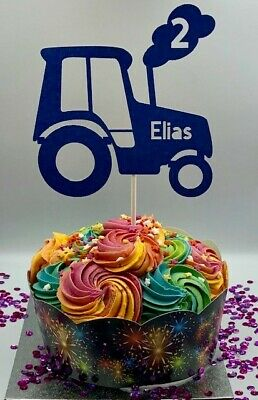 Personalised Tractor Birthday Age Name Cake Topper