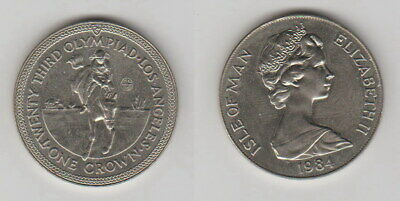"1 Crown 1984 Isle of Man ""Olympia L.A. Springreiten"" seltene Original Münze B170"
