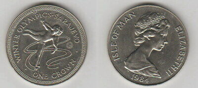 "1 Crown 1984 Isle of Man ""Olympia Sarajewo Eislauf"" Original Münze B173"
