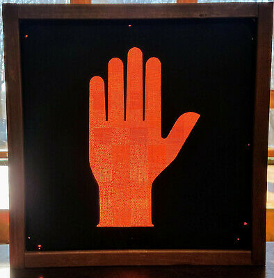 """Woodframed  Glass Lens """"Don't Walk / Stop"""" Hand Icon Traffic Signal  Sign"""
