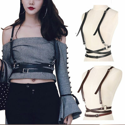 Hot Women Faux Leather Harness Goth Vest Belt Punk Rock Bandage Fashion Tops OS