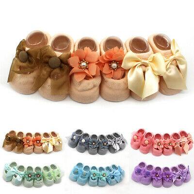 Cute Baby Infant Socks Bow Cotton Floral Skidproof Lace Newborn Style Anti-slip