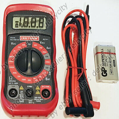 Craftsman 8 Function Digital Multimeter AC DC Volt Ohms Tester LCD + Battery