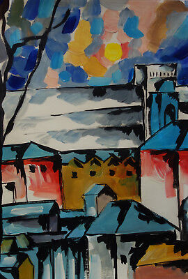 Fine art - Russian Abstract and Cubism original oil composition painting, Signed