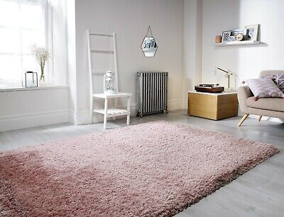 Small - Large Soft Chunky Thick Long 8Cm Shaggy Light Dusky Blush Pink Pearl Rug