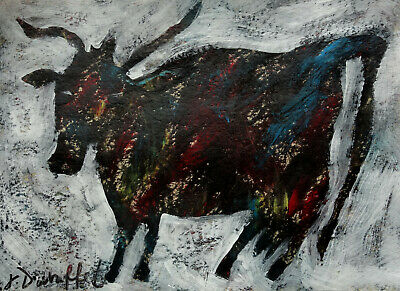 Abstract Expressionism unique original gouache and oil animal painting