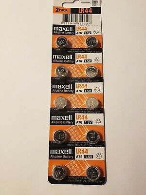 PK of-10  New- LR44 Maxell Alkaline Battery-AG13-357A-A76--Fast Ship-USA