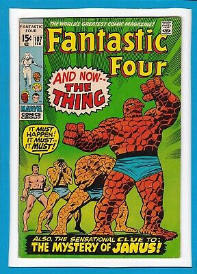 """Fantastic Four #107_February 1971_Very Good+_""""and Now...the Thing""""_Bronze Age!"""