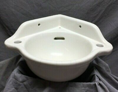 Antique Small Bathroom Porcelain Corner Sink Powder Room Vintage Old 244-19C