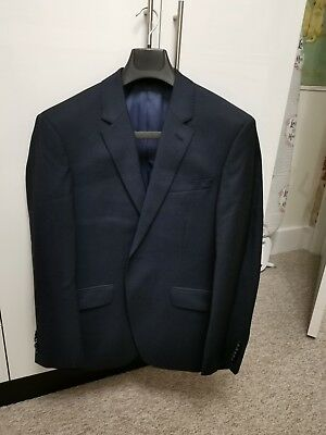 TM Lewin Blue 100% wool suit Jacket And Trousers