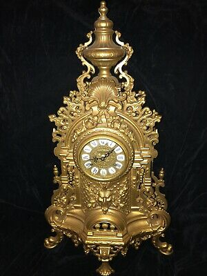 Large Vintage Imperial Franz Hermle Mantel Clock, Ornate Brass Metal Art German