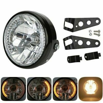 "7"" H4 LED Phare rond de moto Clignotant Lampe frontale Flash Headlamp+Support"
