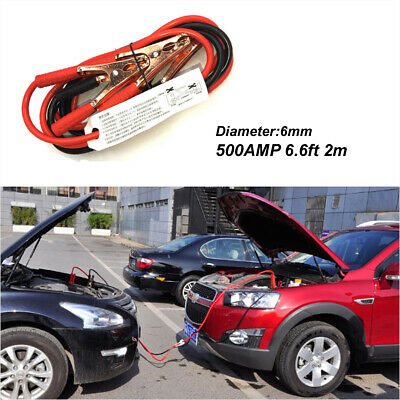 7Ft  2M Car  Duty 500A Battery Booster Cable Jumper Emergency Power Starter 6mm