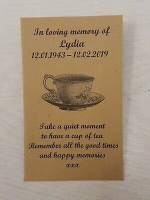 10 Personalised Tea Bag Favour Envelopes Funeral Memorial Remembrance (unfilled)