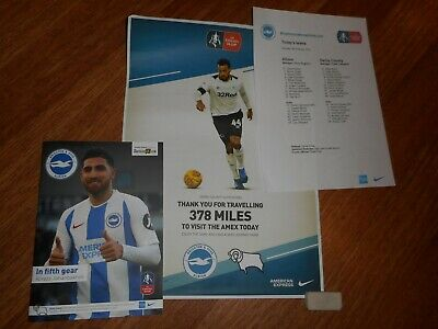 BRIGHTON & HOVE ALBION  v  DERBY COUNTY  2018/19   FAC. + MINT POSTER + T/SHEET
