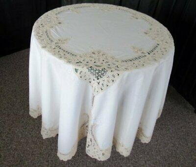 """ROUND TABLECLOTH-TAPE LACE & HAND EMBROIDERY-CREAM-68""""dia."""