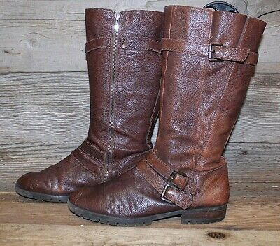 Womens Enzo Angiolini Brown Leather Mid Calf Zip Up Buckle Riding Boots Sz  9M 2777bf0b6