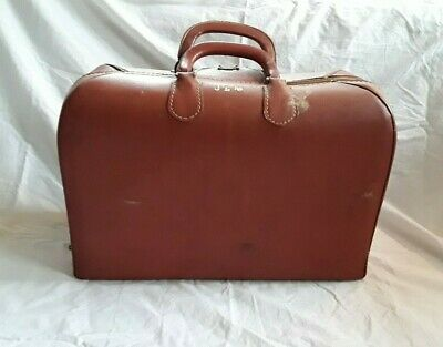 Vintage Leather Dr. Bag / Doctor Bag / Salesman Bag Case. Jlm Initials On Top.