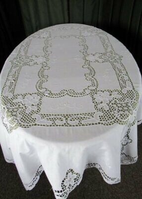 """LARGE TABLECLOTH HAND EMBROIDERED&NEEDLELACE LACE-52""""x68"""""""